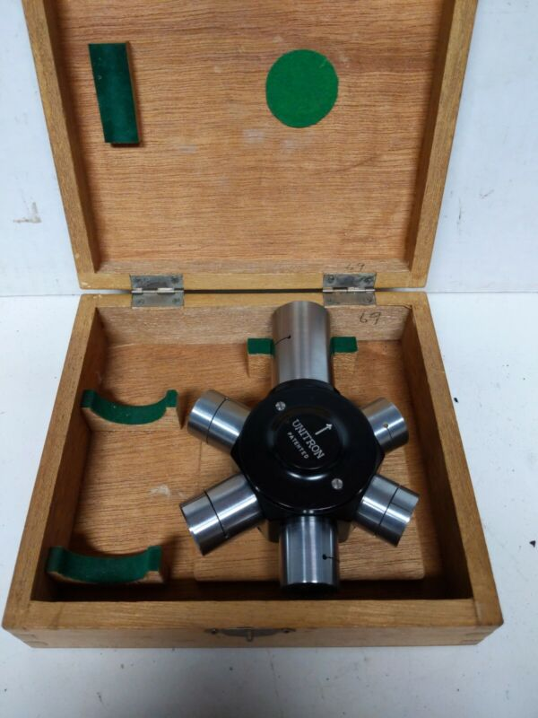 Vintage UNITRON Unihex Rotary Eyepiece Selector in Wood Box - Made in Japan