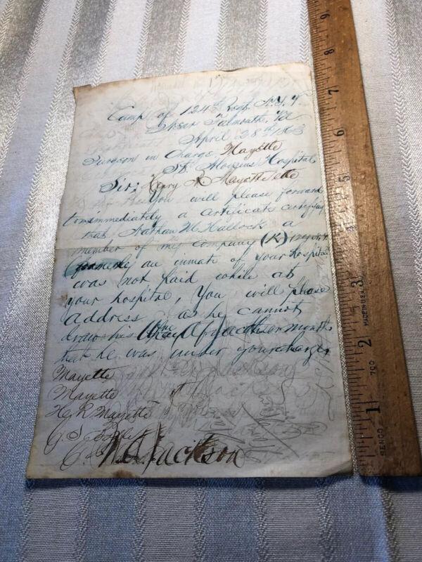 Civil War Letter April 28 1863 Camp of 124th Regt NY near Falmouth Va to Surgeon