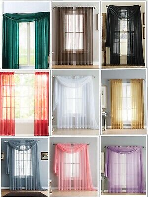 Empire Home Sheer Voile Window Curtain Drapes Short Panel 84