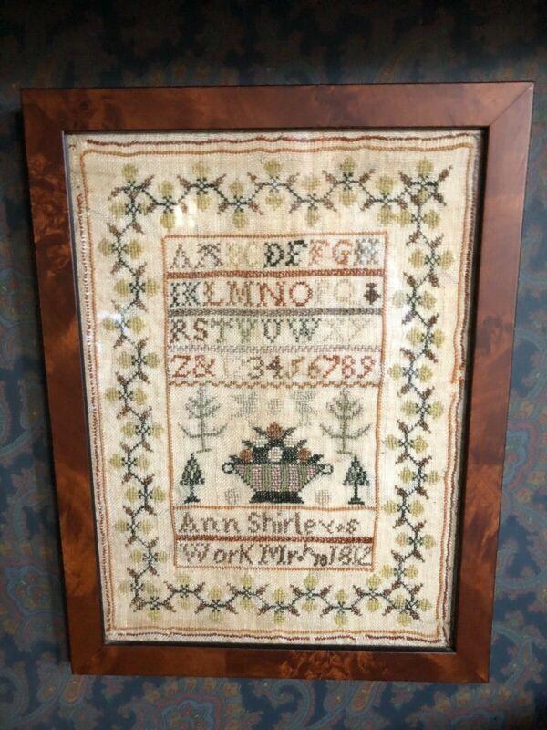 Antique Framed Sampler Worked by Ann Shirley 1812