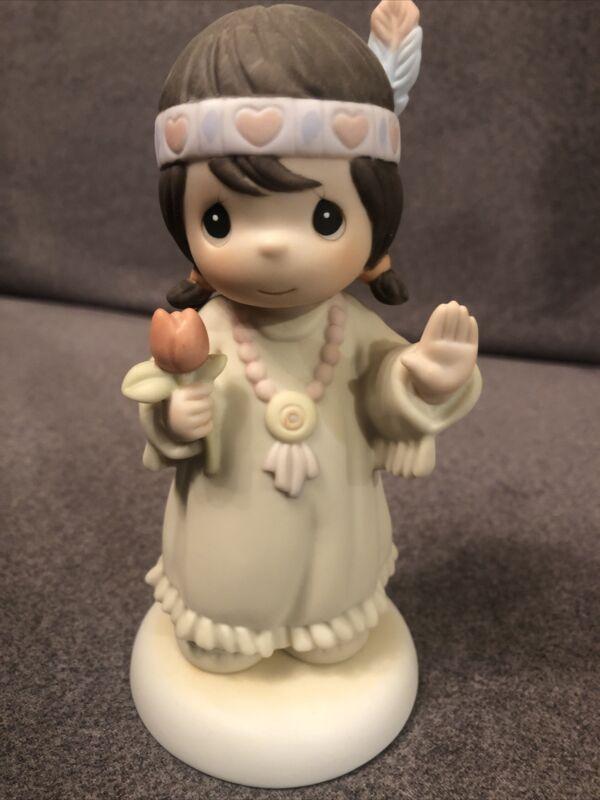"1992 Precious Moments Native American Girl Figurine # 527335 ""Bless-Um You"" Cute"