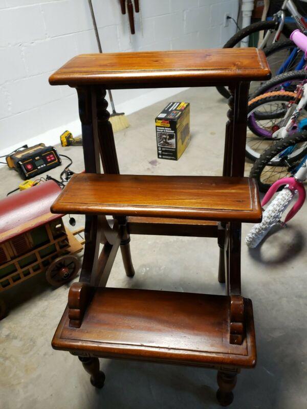 "Steps Stool Red Mahogany Furniture Wood Step Ladder Carved Wood 32"" high ornate"