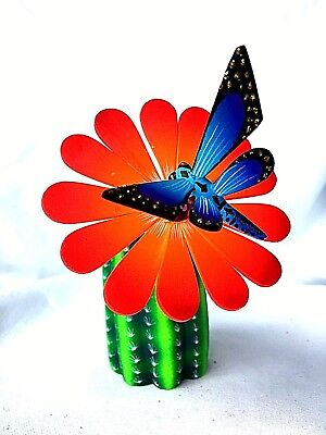 CACTUS ALEBRIJE WITH  FLOWER and HUMMINGBIRD OAXACAN WOOD CARVING  MEXICO