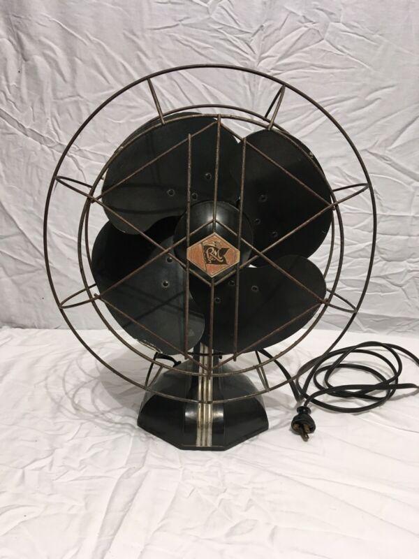 Vintage R & M Robbins Myers Oscilating Electric Fan 3 Speed Art Deco Works READ