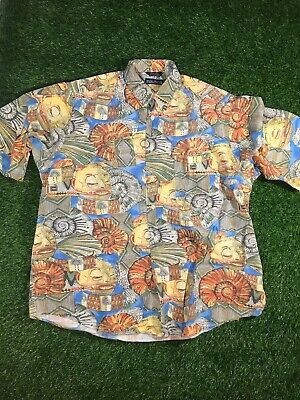 VINTAGE Nautica Button Up Shirt Large Shell Abstract Tropical All Over Print Men
