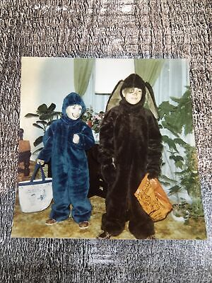 Halloween Costume Cookie Monster & Dog Vintage 1980s Color Photograph