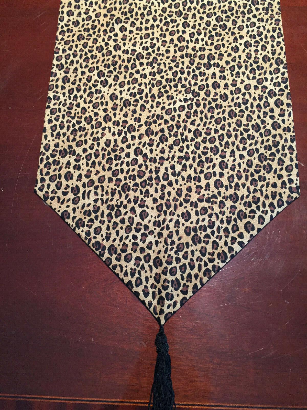 Brown Leopard Jungle Wildlife Animal Print Cotton Table Runn