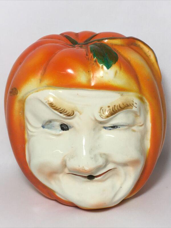 Antique Halloween Pumpkin Head String Holder JackO Latern Man Winking Wall Decor