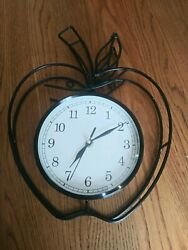 WROUGHT IRON APPLE SHAPE WALL CLOCK WORKS
