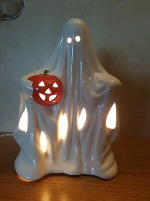 Halloween decoration Vintage ceramic Tattered Ghost Lamp Ornament with pumpkin