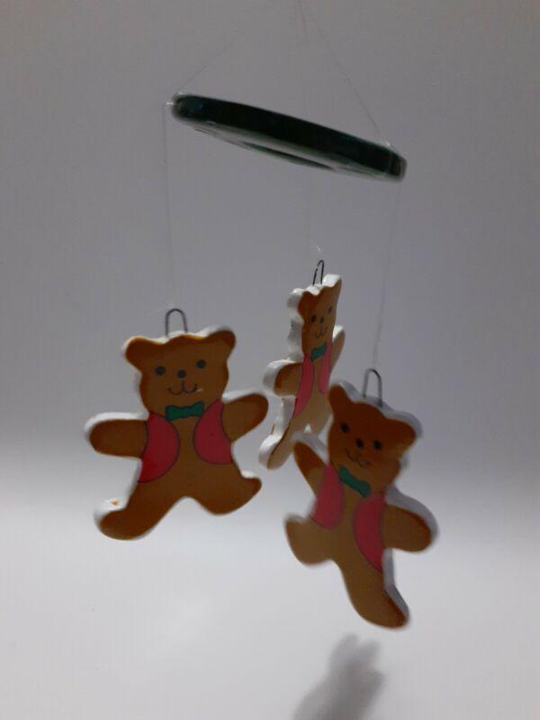 ⭐Vtg Russ Berrie & Co Ceramic Brown Bears Christmas Ornament Mobile Hand Painted