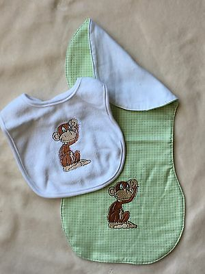 Burp Cloth & Bib Set w/Monkey Embroidery in Greens & Browns