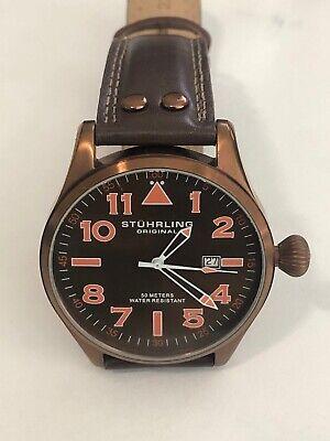 Stuhrling Men's Watch Copper Dial & Fascia Krysterna Crystal Leather Strap read*