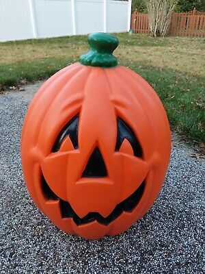 "Large 24"" Lighted Blow Mold Halloween Pumpkin Jack-O-Lantern VTG USA Made 90s"