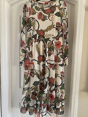 Baum Und Pferdgarten Women's Floral Sheer Tiered Midi Tea Dress Size M