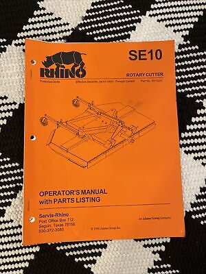 Rhino Se 10 Rotary Cutter Operators Manual With Parts Listing