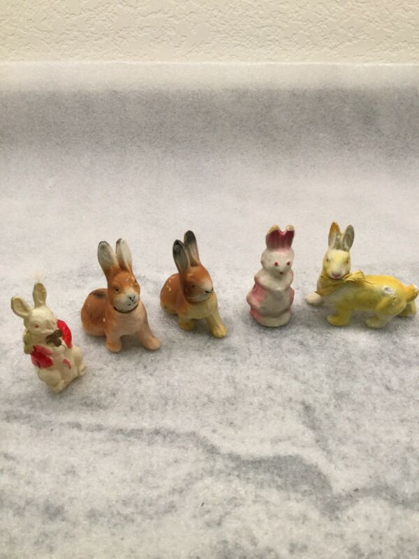 Vintage Easter Bunny Rabbit Candy Containers 4 Paper Mache & 1 Plastic