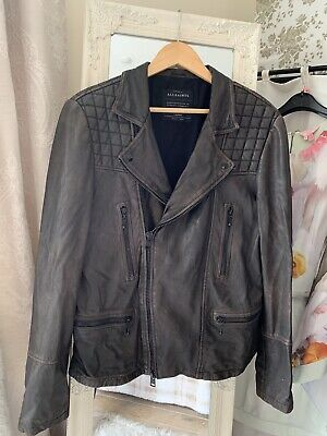 Allsaints Mens Cargo Leather Jacket Size L Brown Distressed Soft Leather