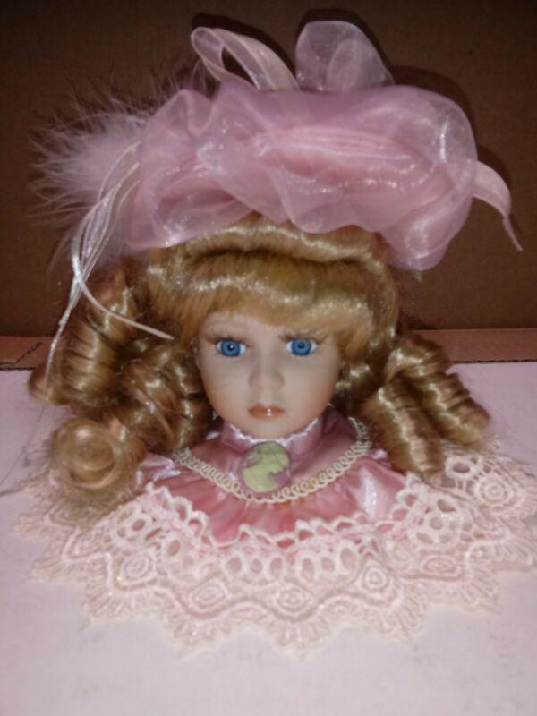 Porcelain Doll Head Ornament Pink Hat