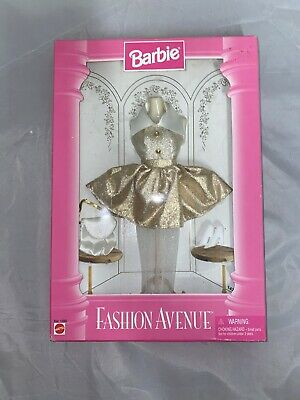 Barbie Fashion Avenue 1995 Matte Gold Short Party Dress and Accessories