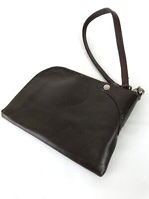 GAP JEANS (EST 1969) Chocolate Brown Leather Versatile Strap Wristlet -