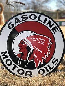 Antique Vintage Old Style Red Indian Motor Oil Sign 24