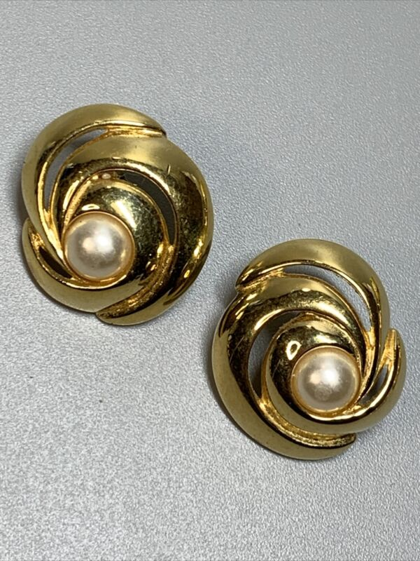 Napier Gold Tone Pierced Earring with Pearl Accent #7919