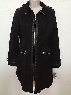 Via Spiga Leather Coat - $238 NEW Via Spiga Womens Black Faux Leather Trim Hooded Zip Front Trench Coat S