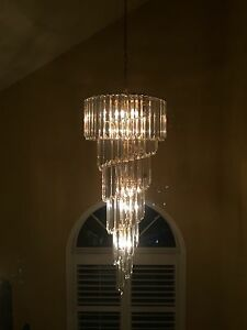Pair of GORGEOUS acrylic  crystal chandeliers.