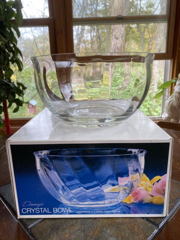 Vintage Colony Salad Serving Bowl Dominique Crystal Clear Swirl Optic Handmade