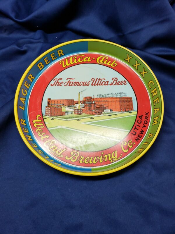 VINTAGE Utica-Club Pilsner Lager Beer/ XXX Cream Ale Tin Serving Tray *RARE*