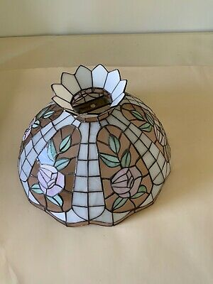 "Vintage stain glass hanging lamp shade 16.5"" diameter"