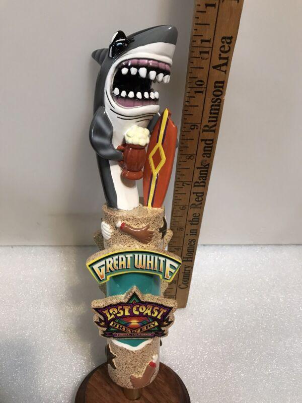 LOST COAST GREAT WHITE SHARK draft beer tap handle. CALIFORNIA