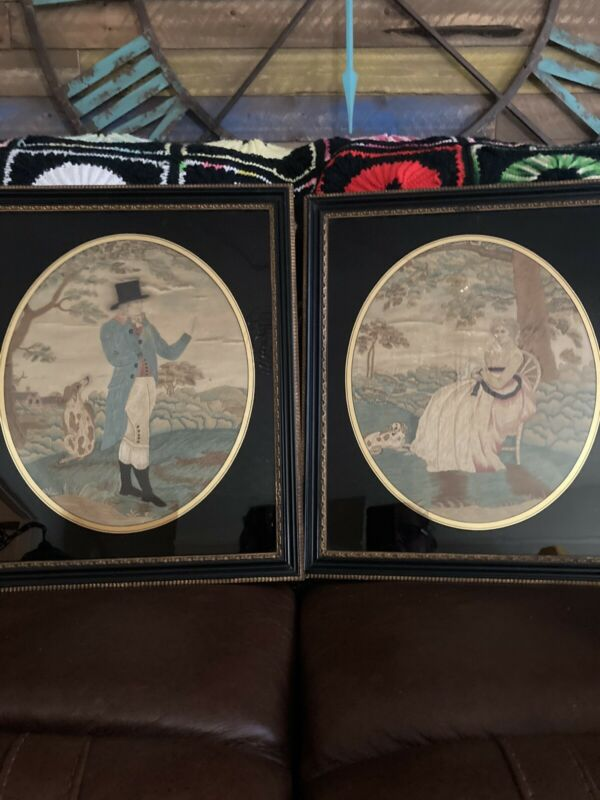 Antique Gorgeous Pair Georgian Silk Embroidery Needlework  With Dogs