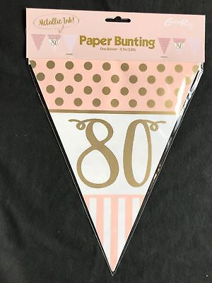 80. Geburtstag Wimpel Fahne Banner Rosa Gold Party Dekoration Alter 80 Wimpel ()