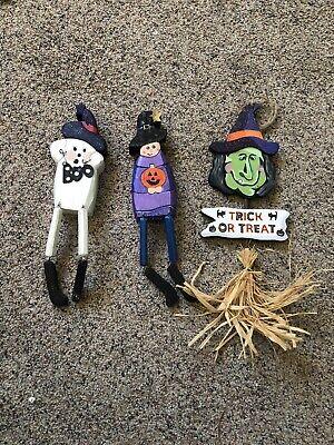 LOT of 3 Handmade Handpainted Halloween Wood Decorations
