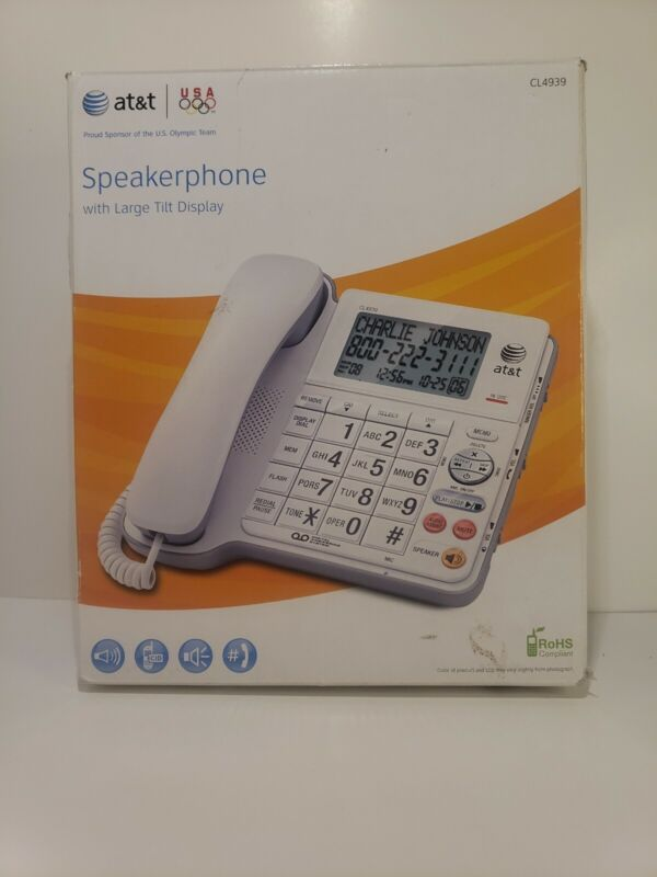 AT&T CL4939 Single Line Corded Big Button House Phone - White