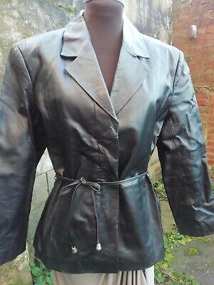 Vtg 90s Modern Classics Genuine Leather Black Ladies Biker Style Jacket 14/16