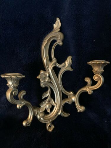Vtg Dart Syroco Gold 2 Arm Ornate Wall Candle Sconce 3931 Hollywood Regency EUC