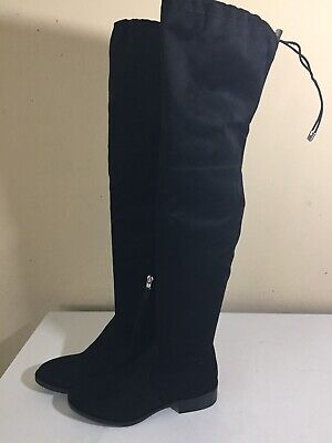 Sz: 7 Sam Edelman Paloma Over the Knee Micro Suede Stacked Heel Boots Black