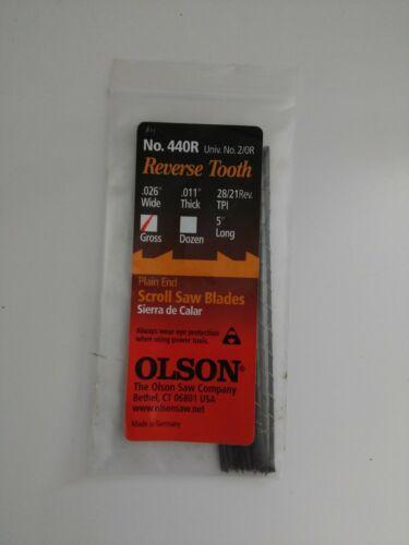 "Olson Scroll Saw Blades, 5"" Plain End, Reverse Tooth, No. 44"