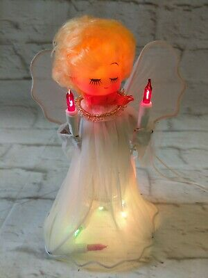 "Vintage Light Up Christmas Angel Tree Topper Blonde Hair White 7"" Tall"