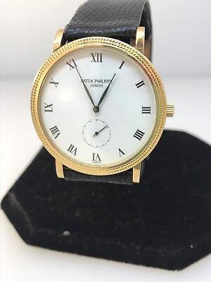 Patek Philippe Calatrava Yellow Gold White Dial Leather Band Men's Watch 3119J
