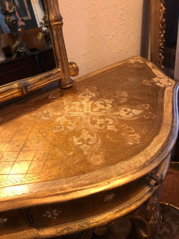 Antique Vintage Italian Florentine Gold Gilded Gilt Demi Lune Hall Table Vanity