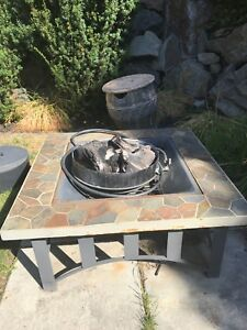 Propane and wood firepit