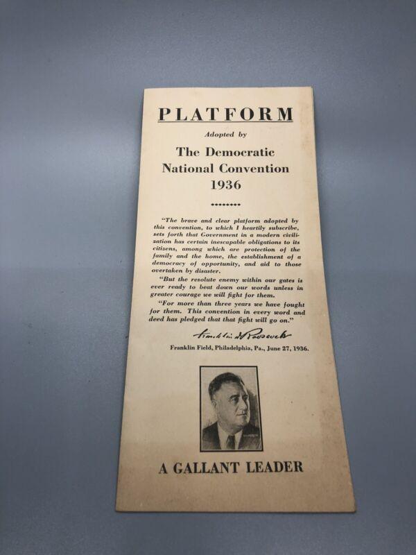 Franklin Roosevelt 1936 Platform Of The Democratic National Convention Pamphlet