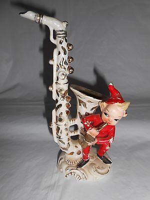 Rare Vintage 1950's  L&M Lipper & Mann Pixie Elf Playing Saxaphone Figurine
