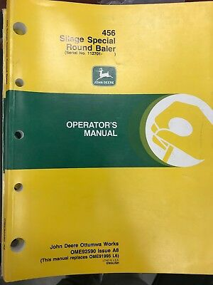 John Deere Operators Manual 456 Silage Spcl Round Baler Ome92590 Used