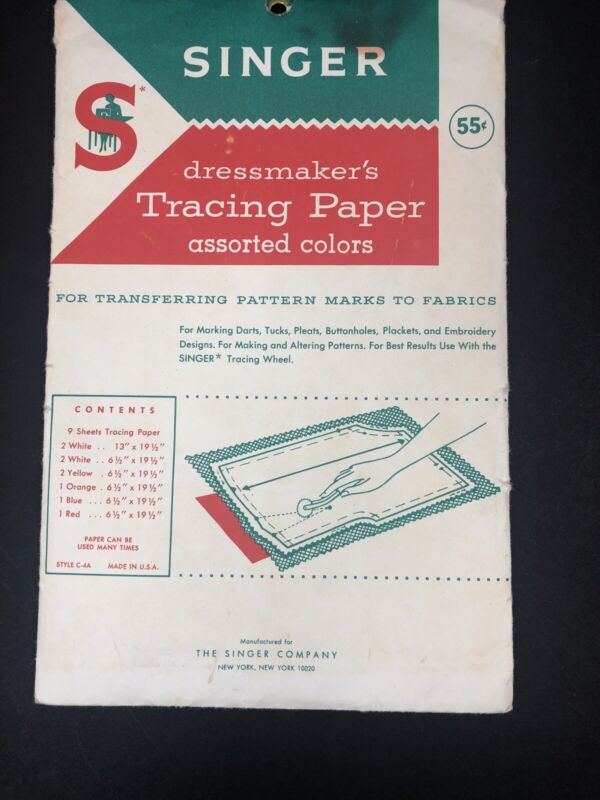 Vintage Singer Dressmakers Tracing Papers Opened Pkg 7 sheets 4 White 3 Colors