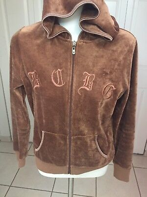 - BCBG Women Brown Full Zip Velour Hoodie Jacket Embroidered Logo S Used